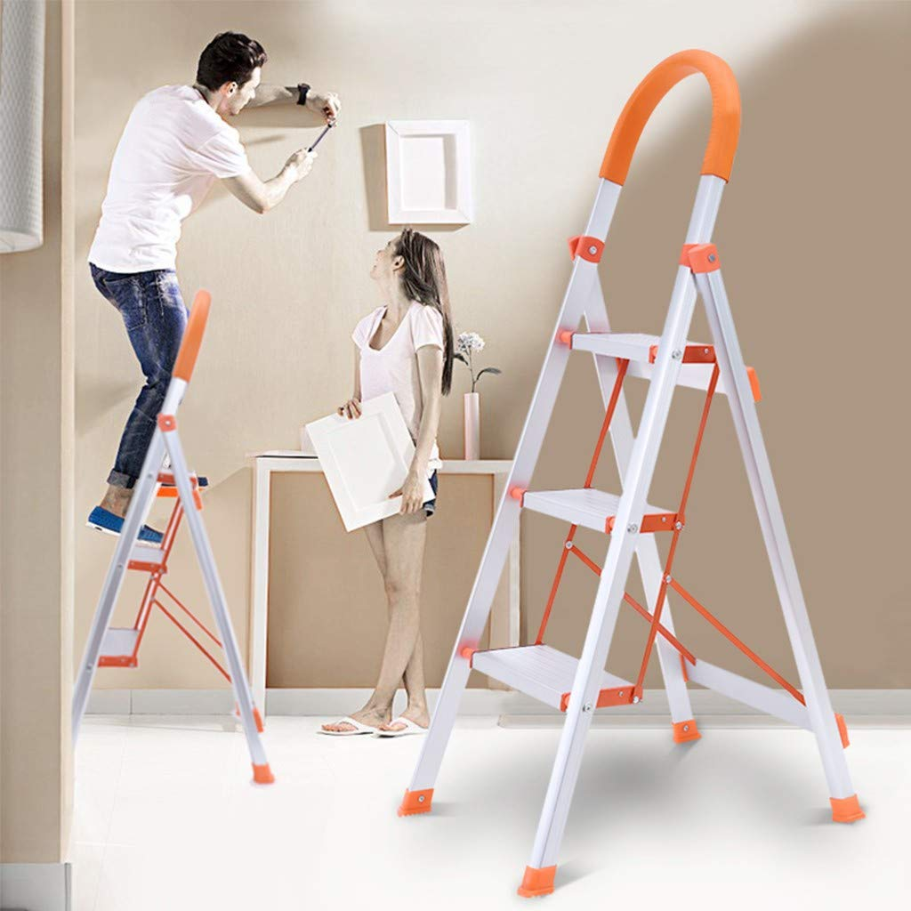 1KTon US Spot! 3-Step Folding Step Stool Aluminum Step Ladder With Handle Anti-Skid Wide Pedal Ladder 16.5 x 23.2 x 46.5 inches, White by 1KTon