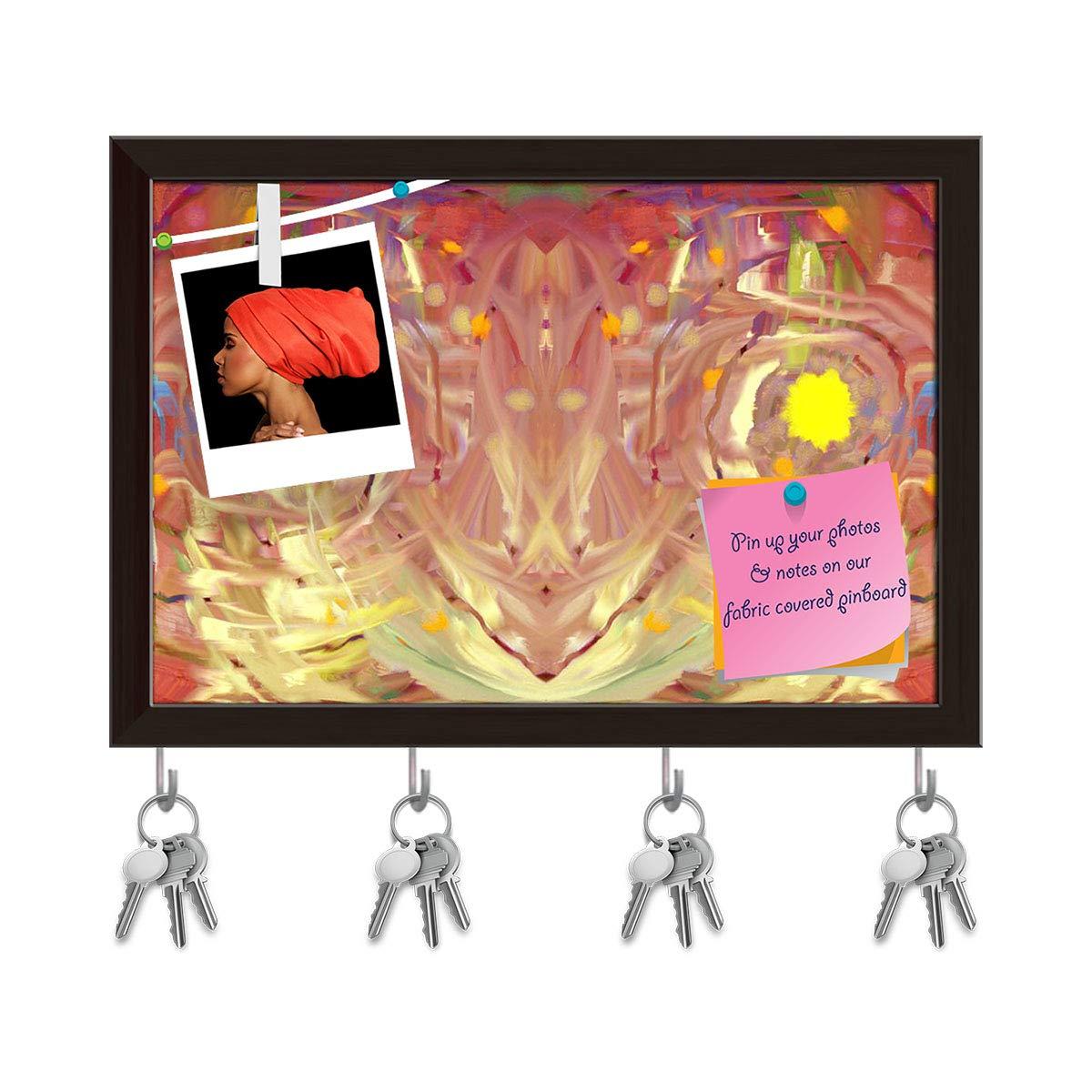 Dark Brown Frame 14.5inch x 10inch (36.8cms x 25.4cms) Artzfolio Abstract Artwork D226 Key Holder Hooks   Notice Pin Board   Antique golden Frame 17.5 X 12Inch