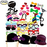 Foonii 63PCS Photo Booth Props Funny Creative Wedding Birthday Christmas Party paper Mustache Glasses Hats on Stick, Colorful