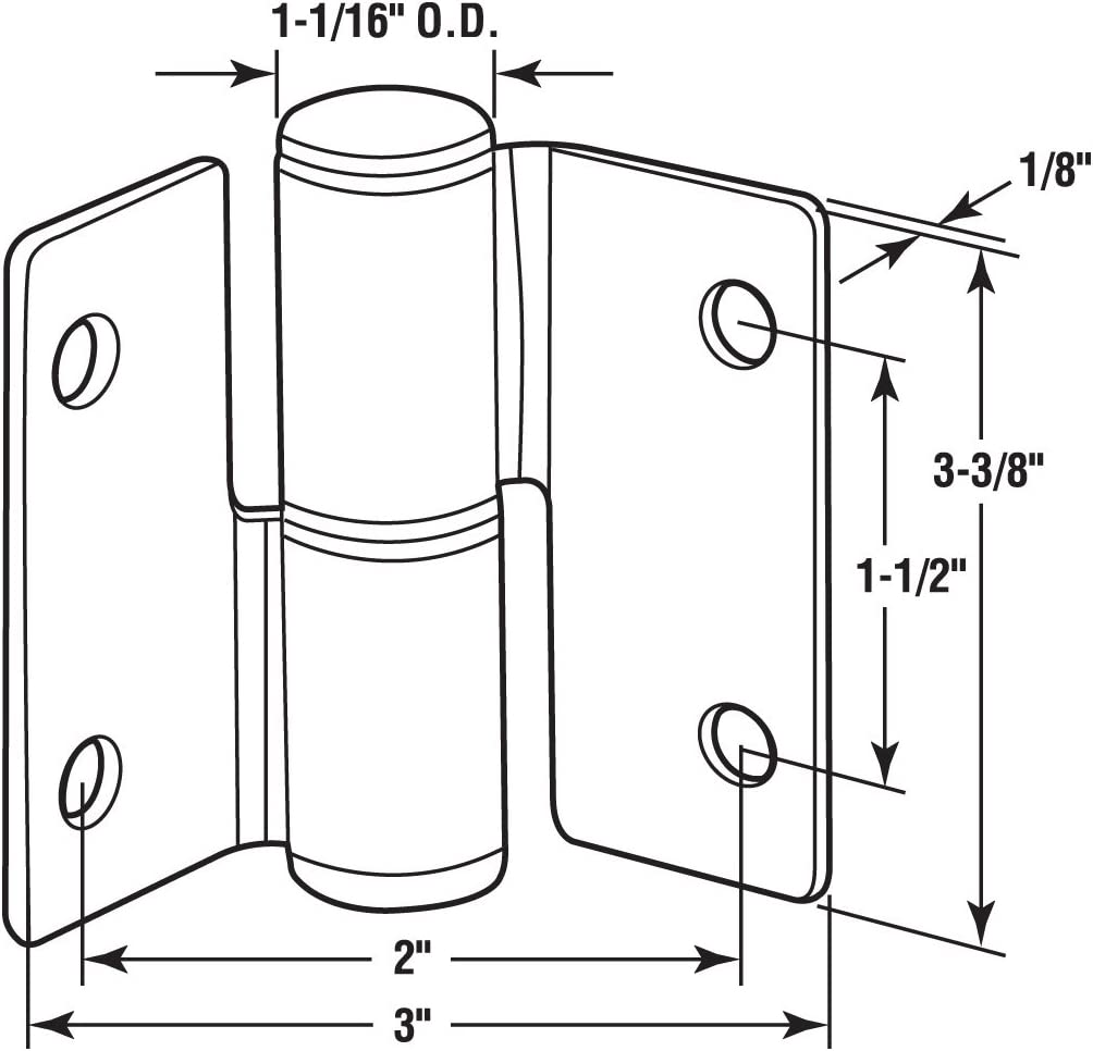 Sentry Supply 656-8237 3 x 3-3//8 Stamped Stainless Steel Satin Finish RH In//LH Out Surface Mounted Hinge