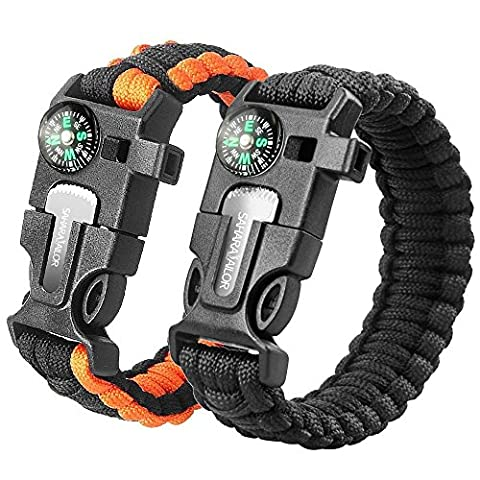 2PCS PACK Multifunctional Paracord Bracelet, Sahara Sailor Outdoor Survival Kit W Compass Flint Fire Starter Scraper Whistle for Hiking Camping Emergency More (8 inch (Flint Fire)