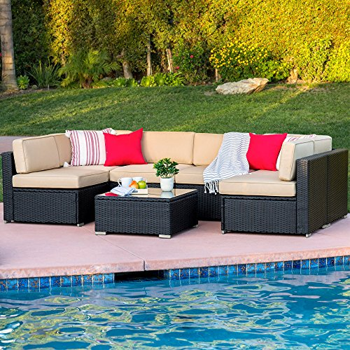 (Best Choice Products 7-Piece Modular Outdoor Patio Rattan Wicker Sectional Conversation Sofa Set w/ 6 Chairs, Coffee Table, Weather-Resistant Cover, Seat Clips, Minimal Assembly Required - Black)