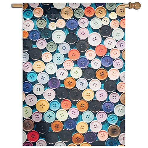 Garden Flag Colorful Buttons Lawn Banner Outdoor Yard Home F