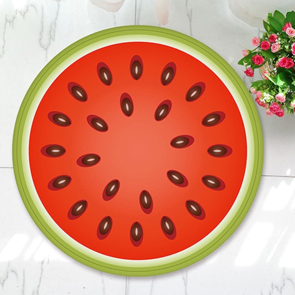 Momola Non-Slip Carpet - Bedroom Bathroom Living Room Kitchen - Fruit Pattern Shaggy Soft Area Rug Round Floor Mat (Multicolor A)