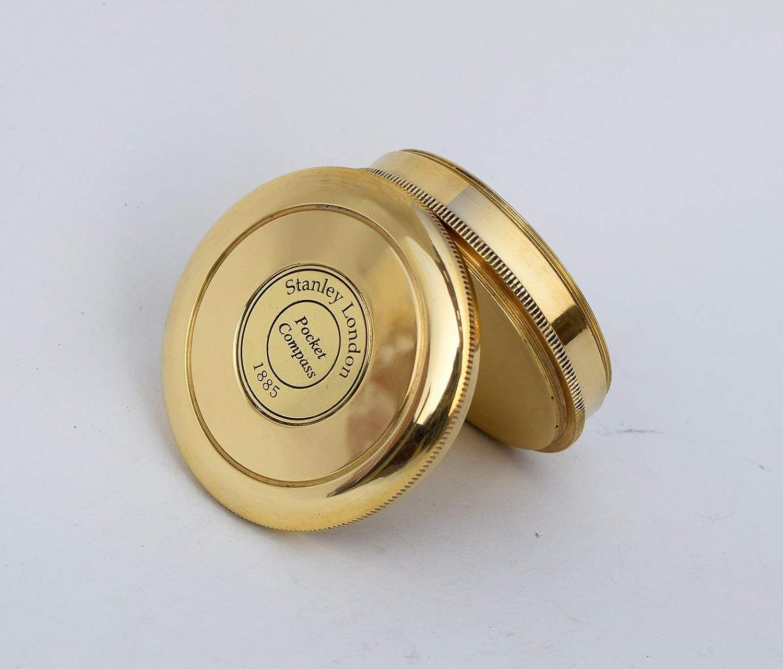 "Vintage brass compass maritime 2/"" stanley london brass poem compass ART-1885"