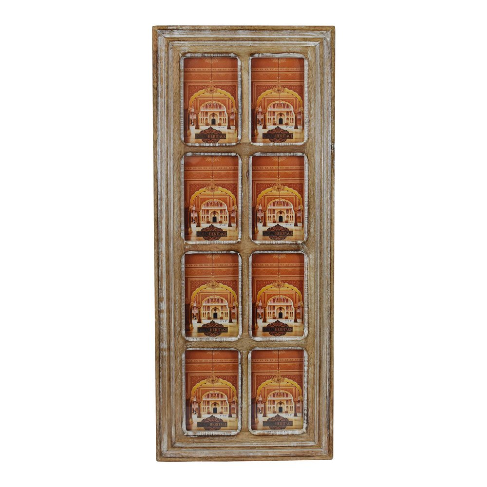Indian Heritage Wooden Photo Frame 4x6 Molding Design Collage in Natural Wood and White Distress Finish (8 Photos)