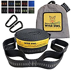 Wise Owl Outfitters Talon Hammock Straps - Combined 20 Ft Long, 38 Loops W/ 2 Carabiners - Easily Adjustable, Tree Friendly Must Have Gear For Camping Hammocks Like Eno Grey Stitching
