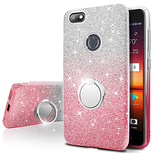 ZTE Blade X Z965 Case,Silverback Girls Bling Glitter Sparkle Cute Phone Case with 360 Rotating Ring Stand, Soft TPU Outer Cover + Hard PC Inner Shell Skin for ZTE Blade X Z965 -Pink