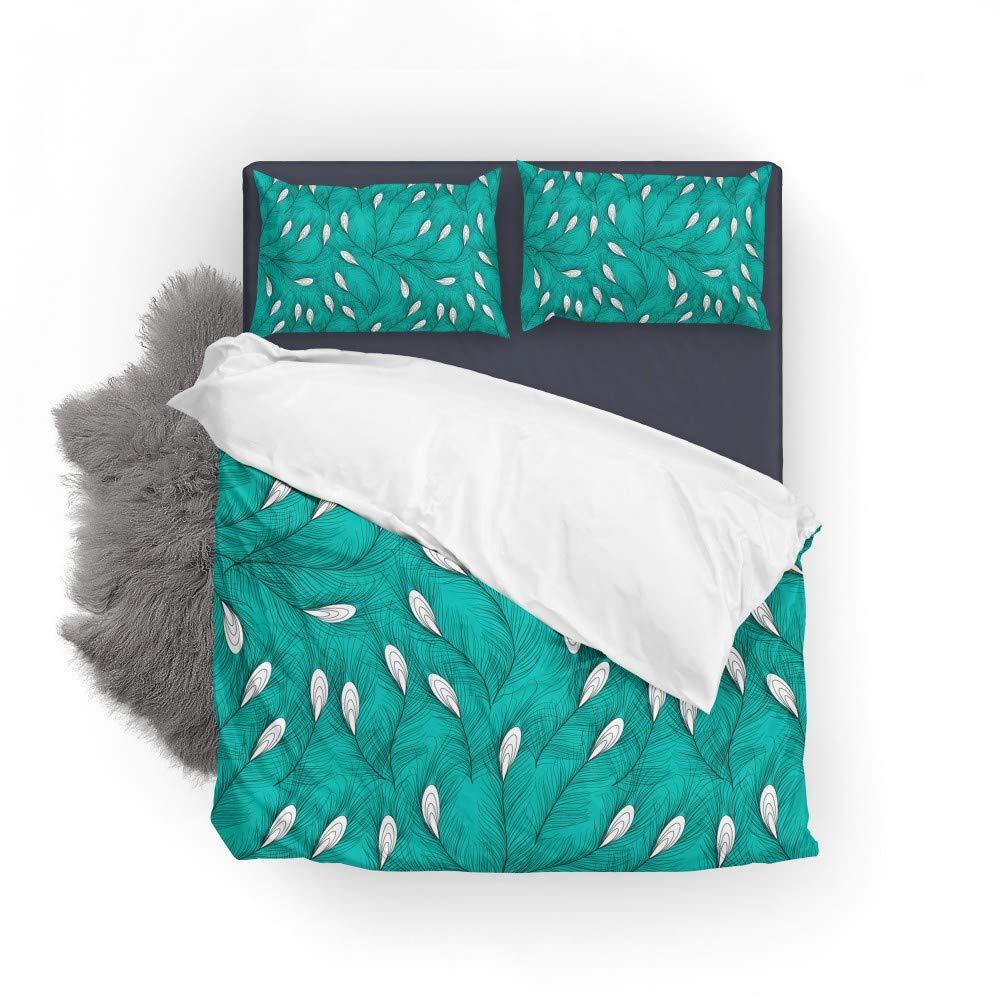 Vantaso Bedding Set Twin Peacock Feathers Green White 1 Duvet Cover Set 1 Pillow Sham 2PCS Kids Bedroom