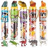 Joyin Toy 69 Pieces Natural World Animal Dinosaur Insect Sea Animal Farm Animal Figures Mini Plastic Vinyl Assorted Figures Playset