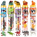 Joyin Toy 69 Pieces Natural World Animal Dinosaur Insect Sea Animal Farm Animal Figures Mini Plastic Vinyl Assorted Figures Playset