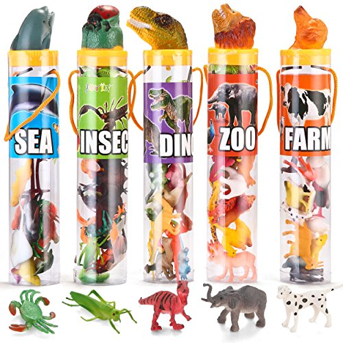 JOYIN 69 Pieces Natural World Animal Dinosaur Insect Sea Animal Farm Animal Figures Stocking Stuffer Mini Plastic Vinyl Assorted Figures Playset -