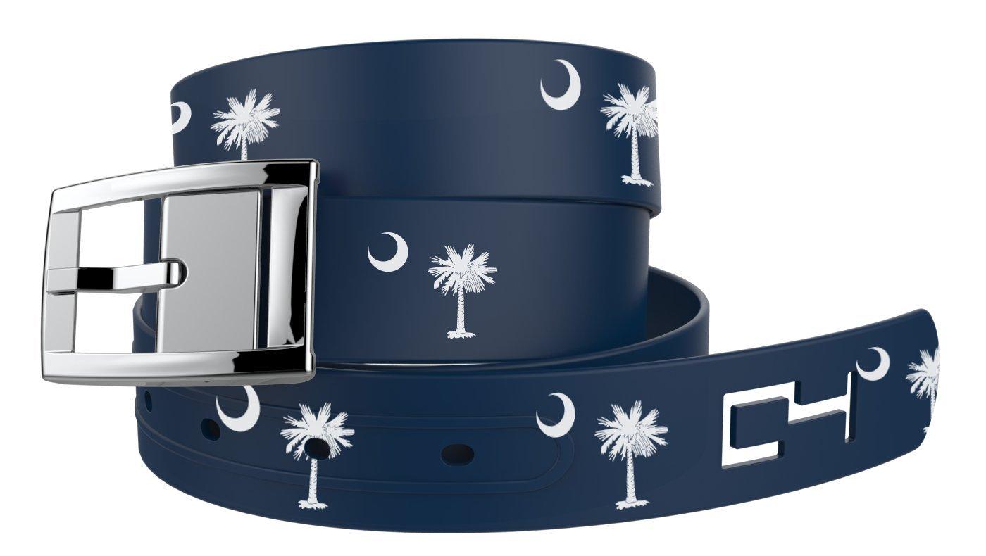 C4 State Pride Belt: South Carolina Strap/Silver Chrome Buckle - Fashion Belt - Waist Belt