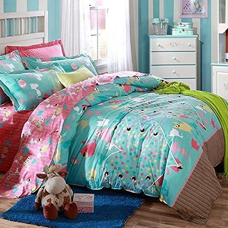 MeMoreCool Home Textile carcasa diseño de gatos los niños y las niñas ropa de cama juego