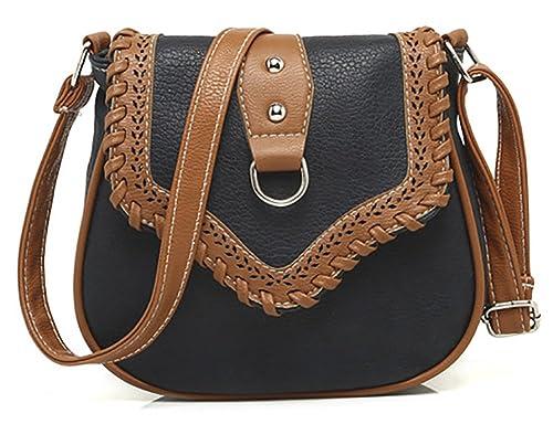 481c0a2ec624 QZUnique Women s PU Sanddle Bag Studs Crossbody Handbag Hobo Access  Shoulder Bag Black