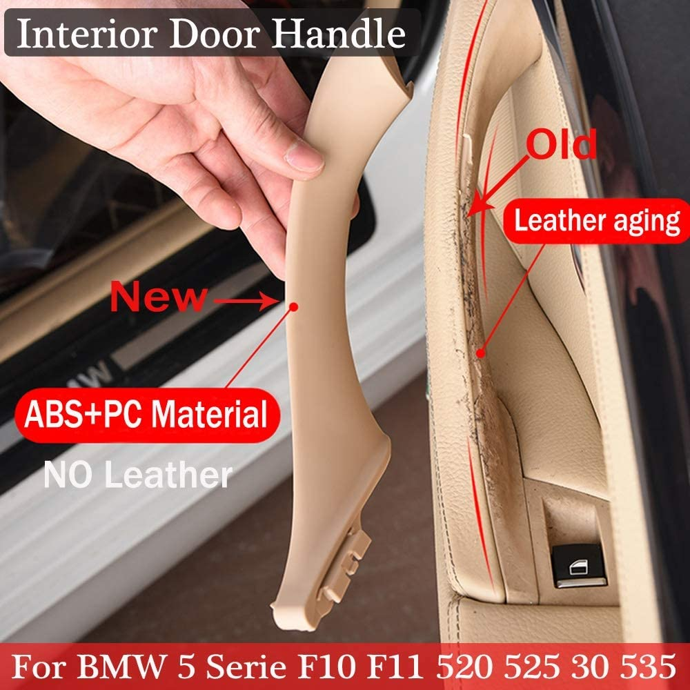 Color : Beige Panel NO LOGO FJY-HANDLE Interior Doors Handle For BMW 5 serie F10 F11 535i 550i 535d 530i 520i Sedan ABS Panel Pull Trim Cover 51417225858 51417225854