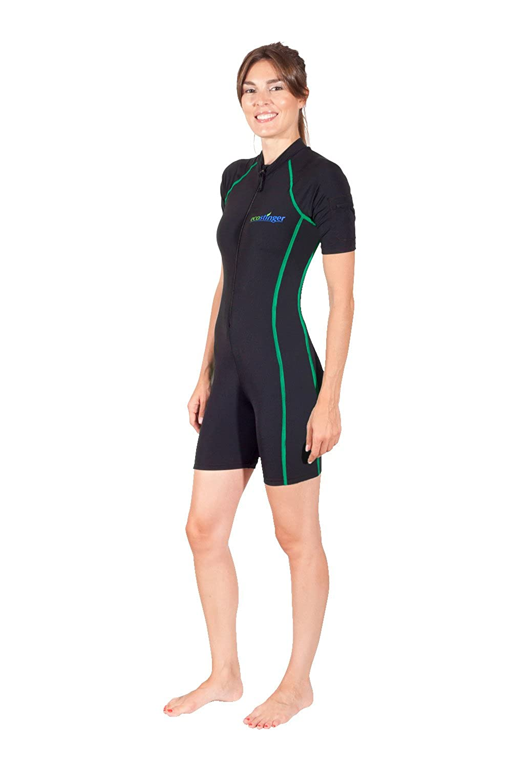 Women Full Body UV Protection Swim Sun Suit Short Sleeves With Pocket UPF50+ EcoStinger A101-CS