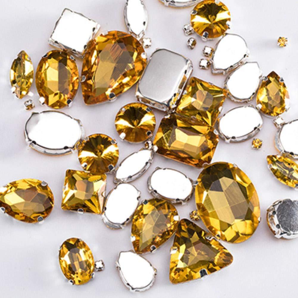 PENVEAT Diamantes de imitaci/ón de Cristal con Purpurina para Coser con Garra 50 Unidades Mix Sizes 50PCS Emerald Green para Vestir