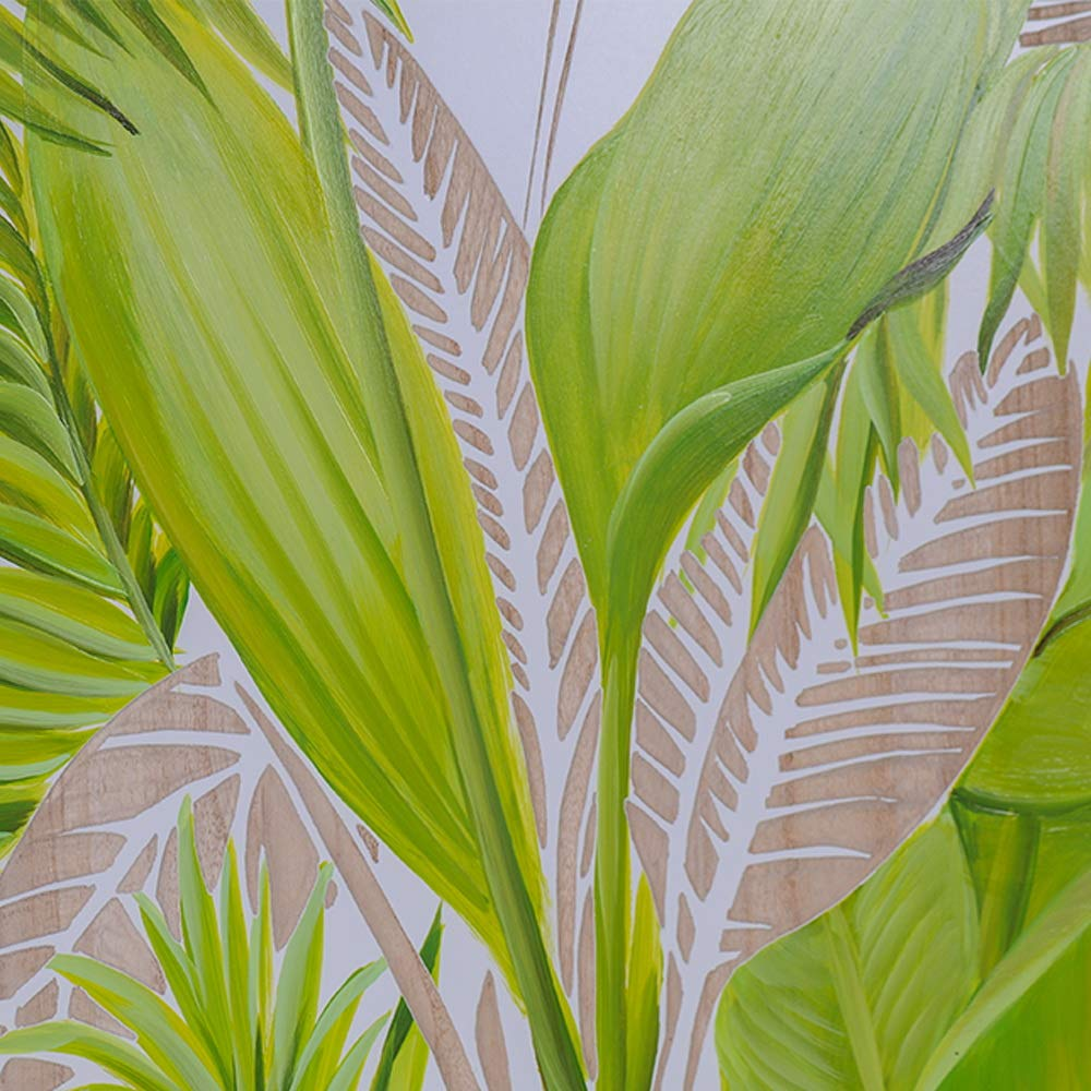 Guild Home Gallery Wall Painting GHGWA18158 Handpainted Palm Leaves Wall Art 60X60X4cm 1PC
