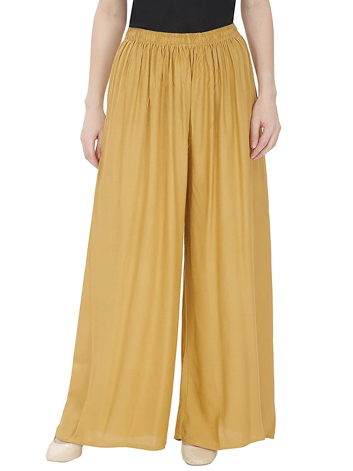 63c2b46cd2 women palazzo solid soft rayon plain design with elastic   knote in free  size multicolor