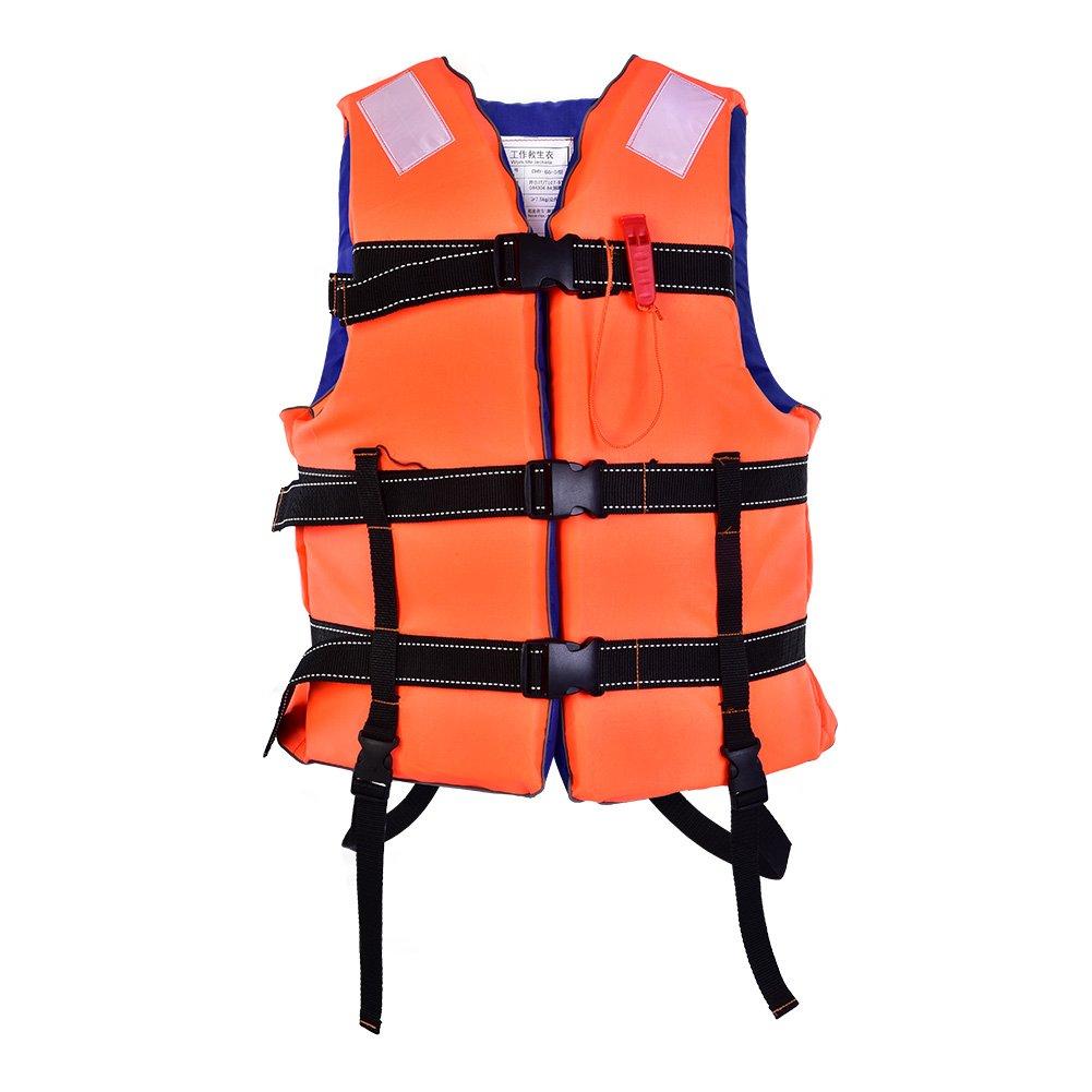 dilwe大人ライフベスト、軽量PP安全ジャケットwith Whistle Life Waistcoatサバイバルプロテクターボート釣り用ドリフト  Orange + Blue B07FL7HRRT