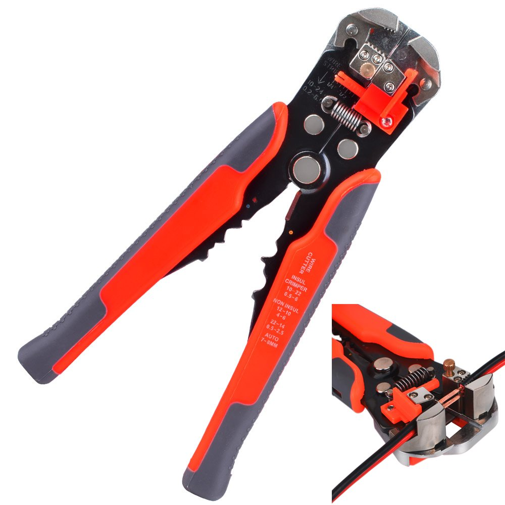 Kuman 8 Inch Wire Stripper Self-Adjusting Automatic Cable Cutters Crimper Stranded Wire Cutting for Industrial 10-24 AWG P8100