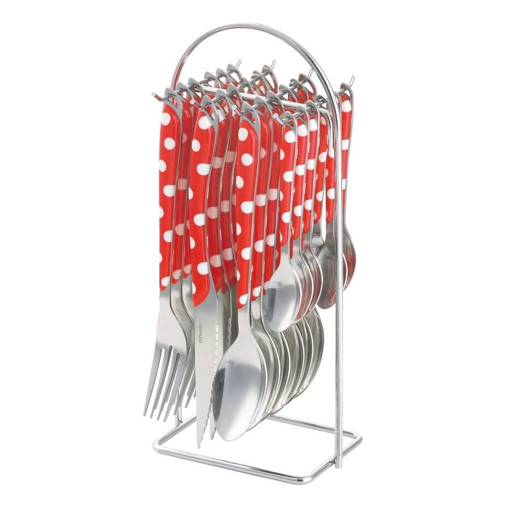 Amefa UK 2264R1BF02C40 Ltd Eclat Red & White Polka Dot 24 Piece Cutlery Set with Hanging Stand, Red/White Polka Dot, Set of 24 Amefa UK Ltd