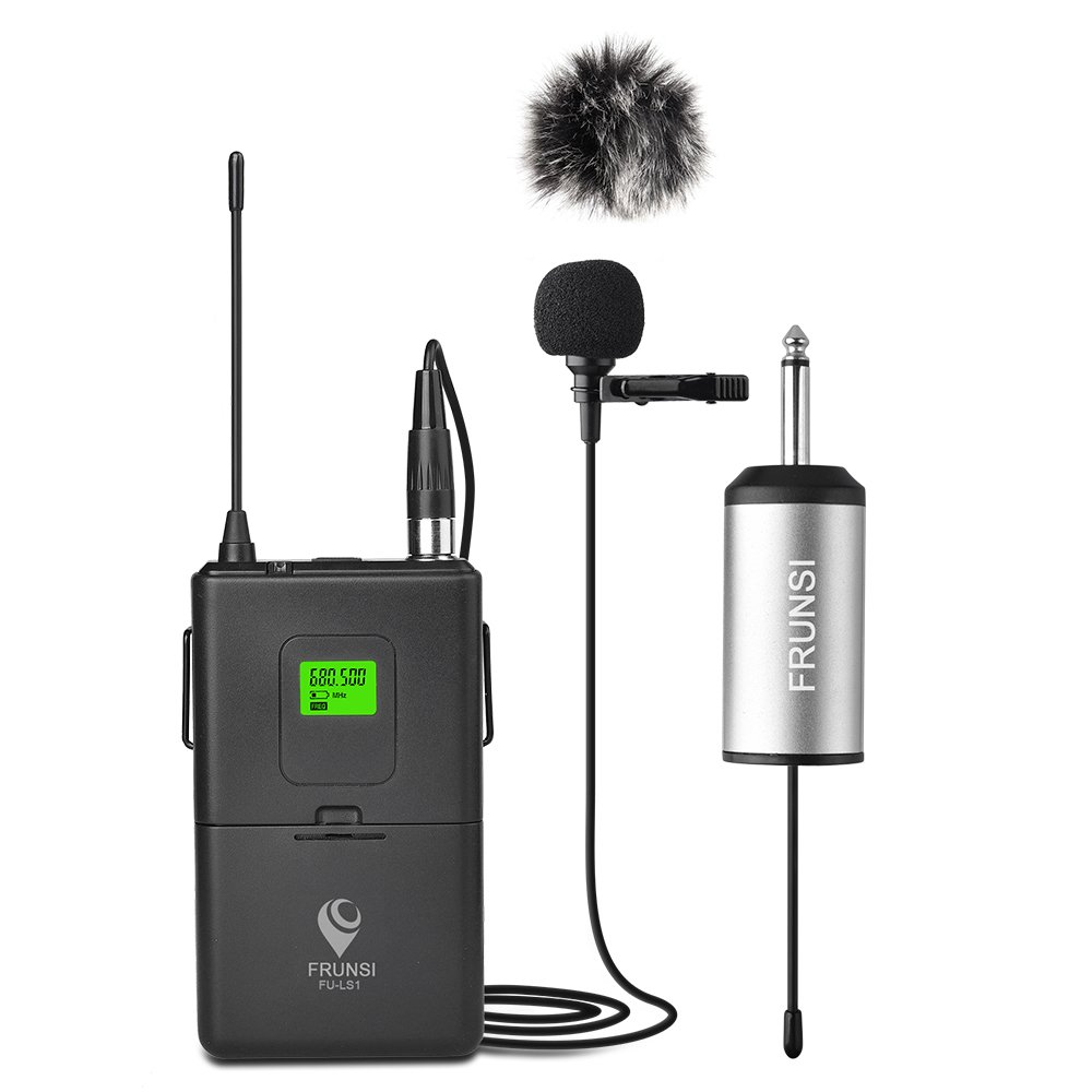 Wireless Lapel Microphone with 1/4 Inch Mini Receiver, 20-Channel UHF Wireless Lavalier Microphone System with Portable Receiver, Clip Mic for Hands-free Operation in Public Speaking, PA System, Theat Frunsi