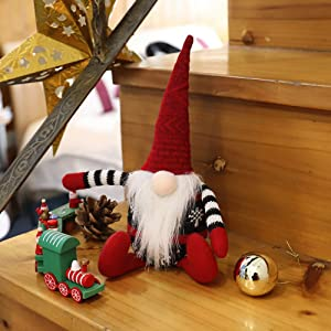 Christmas Gnome 2020 Ornaments, Plush Decor Handmade Tomte Doll Figurine Santa Swedish Scandinavian Nisse Santa's Home Decorations 8 inch