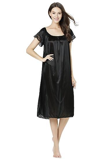 CHANCEN Women\'s Short Sleeve Lace Trim Satin Silky Long Nightgown ...