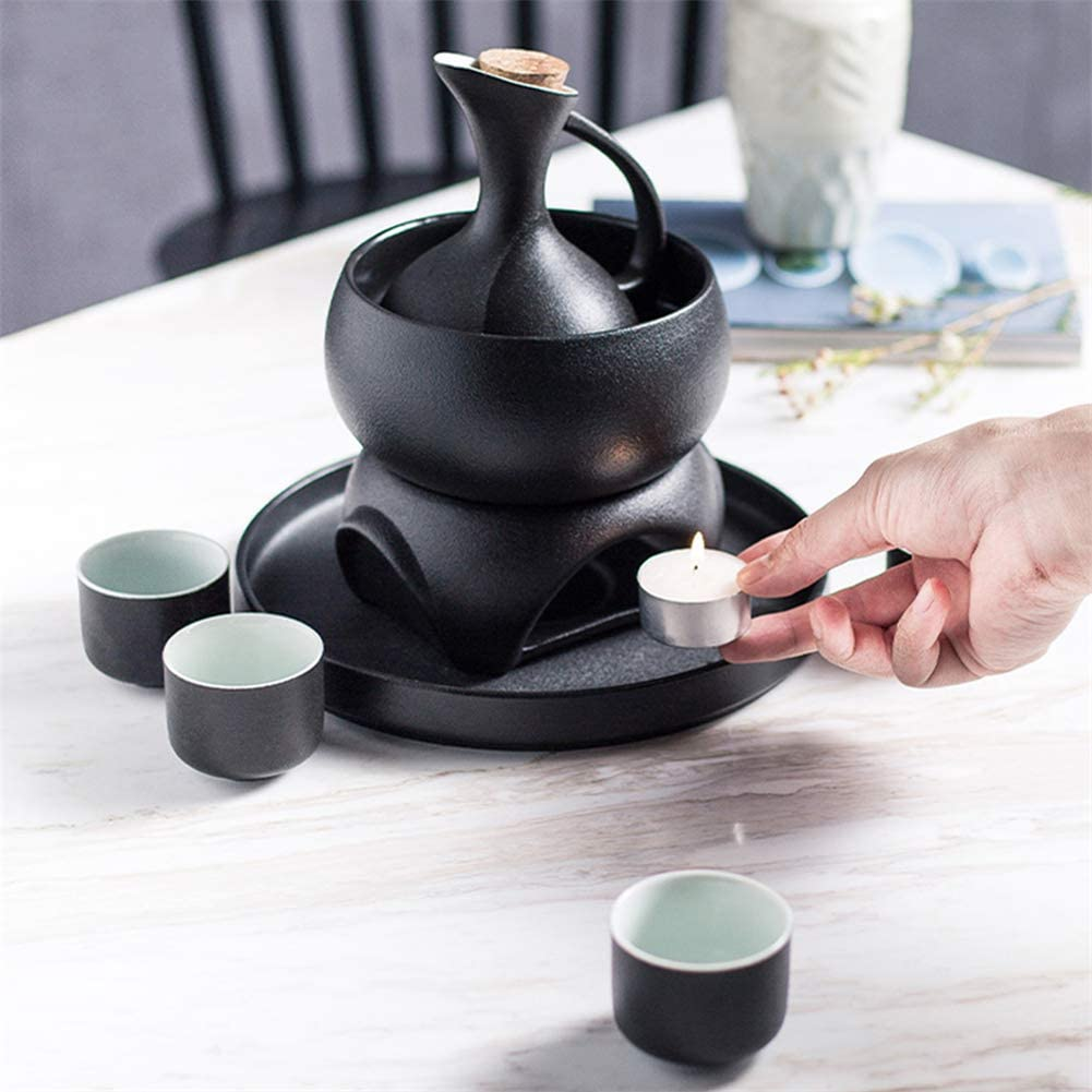 7-Piece Japanese Sake Set Black Glaze Wine Glasses with Warmer and Candles Oven Without Tray Mat Texture Cups for Cold//Warm//hot Sake//Shochu//Tea