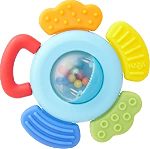HABA Clutching Toy Blossom - Plastic Rattle with 4 Teething Elements with Different Textures - Ages 6 Months +