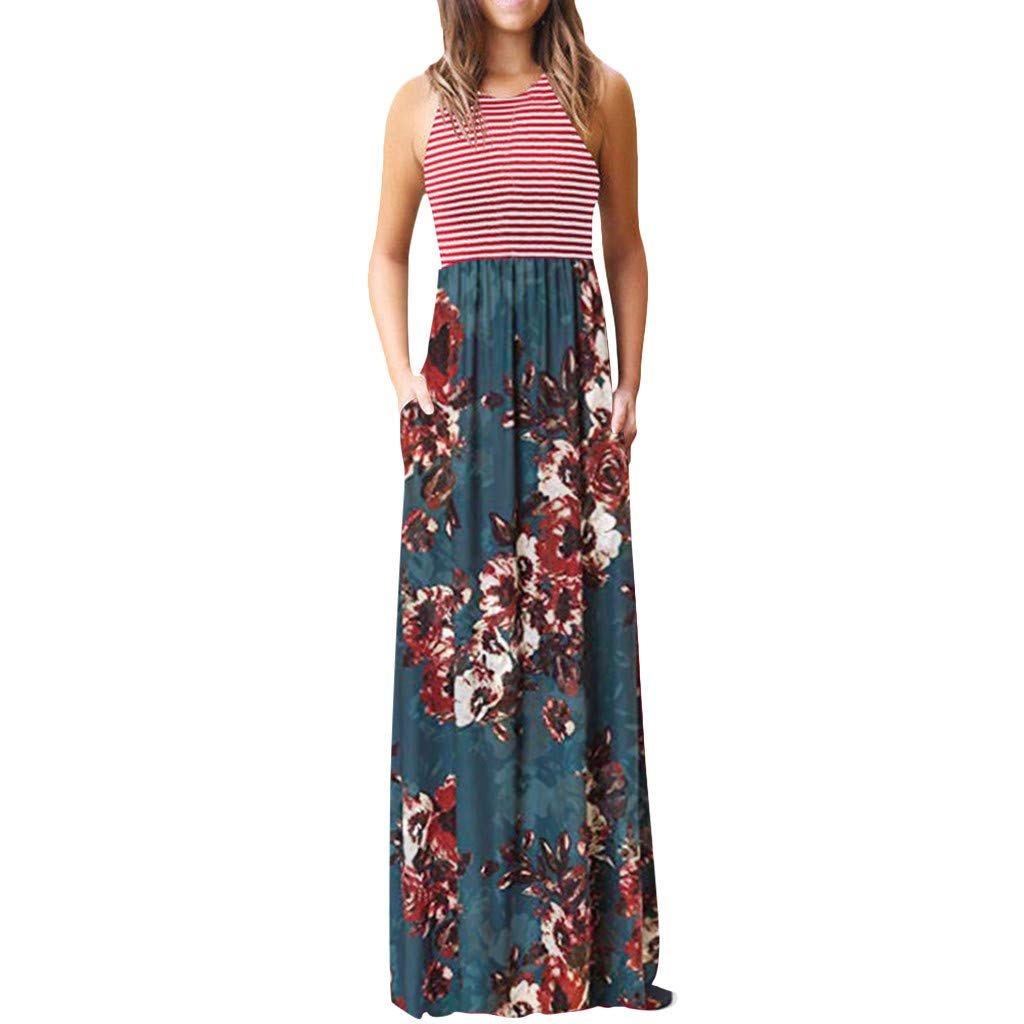 Women's Sleeveless Loose Printed Vacation Days Maxi Dresses Casual Long Dresses with Pockets by GreatGiftList (Image #1)