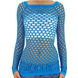 TD Collections Nylon Fishnet Long Sleeve Top Go Go Dance Wear (Small/Medium, Turquoise)