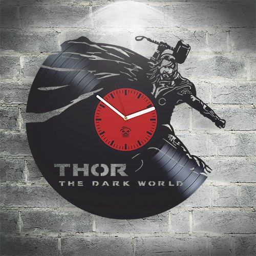 - Kovides Thor The Dark World Vinyl Wall Clock Home Decor, Decoration Living Room, Kidroom Inspirational Comics Marvel DC Movie, Vinyl Wall Clock with Silent Mechanism, Home Decor Sticker