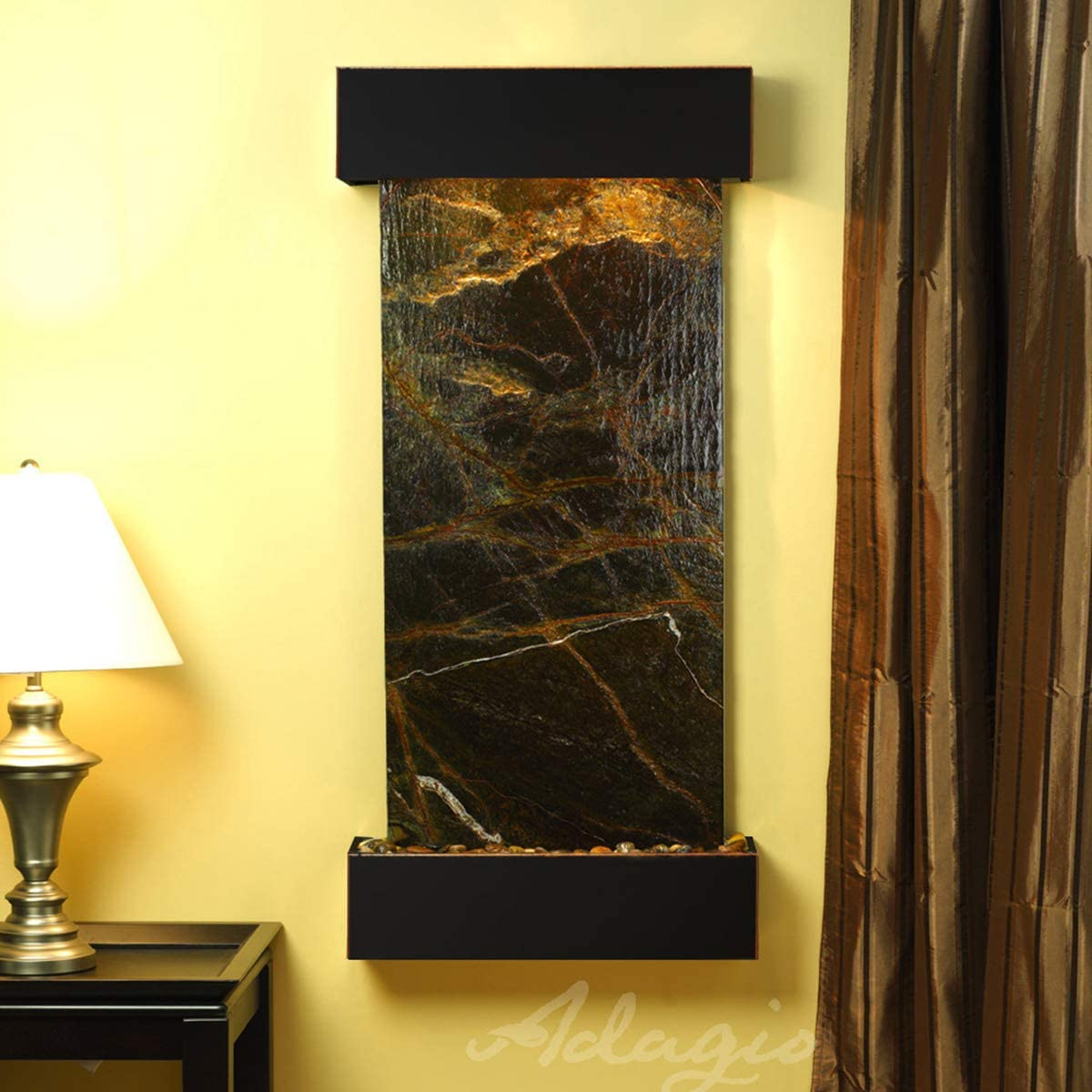 Cascade Springs Water Feature with Blackened Copper Trim and Square Edges (Green FeatherStone): Home & Kitchen