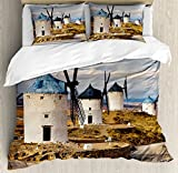 Windmill Decor Queen Size Duvet Cover Set by Ambesonne, Medieval Spain Windmills in Consuegra Old Historical Landmark, Decorative 3 Piece Bedding Set with 2 Pillow Shams, Blue White Light Brown