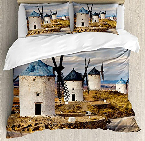 Windmill Decor Queen Size Duvet Cover Set by Ambesonne, Medieval Spain Windmills in Consuegra Old Historical Landmark, Decorative 3 Piece Bedding Set with 2 Pillow Shams, Blue White Light Brown by Ambesonne