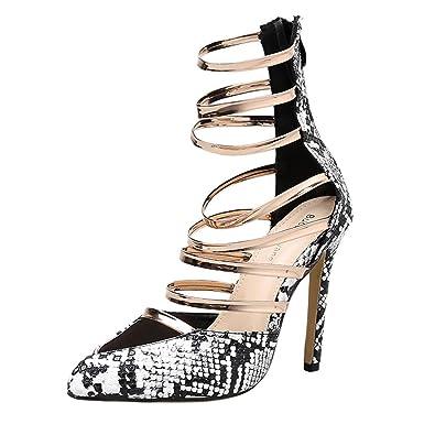 Wiesen Pattern Meibax Sandalen Heel Damen High Snake Schuhe Hohlen SMzVqpU