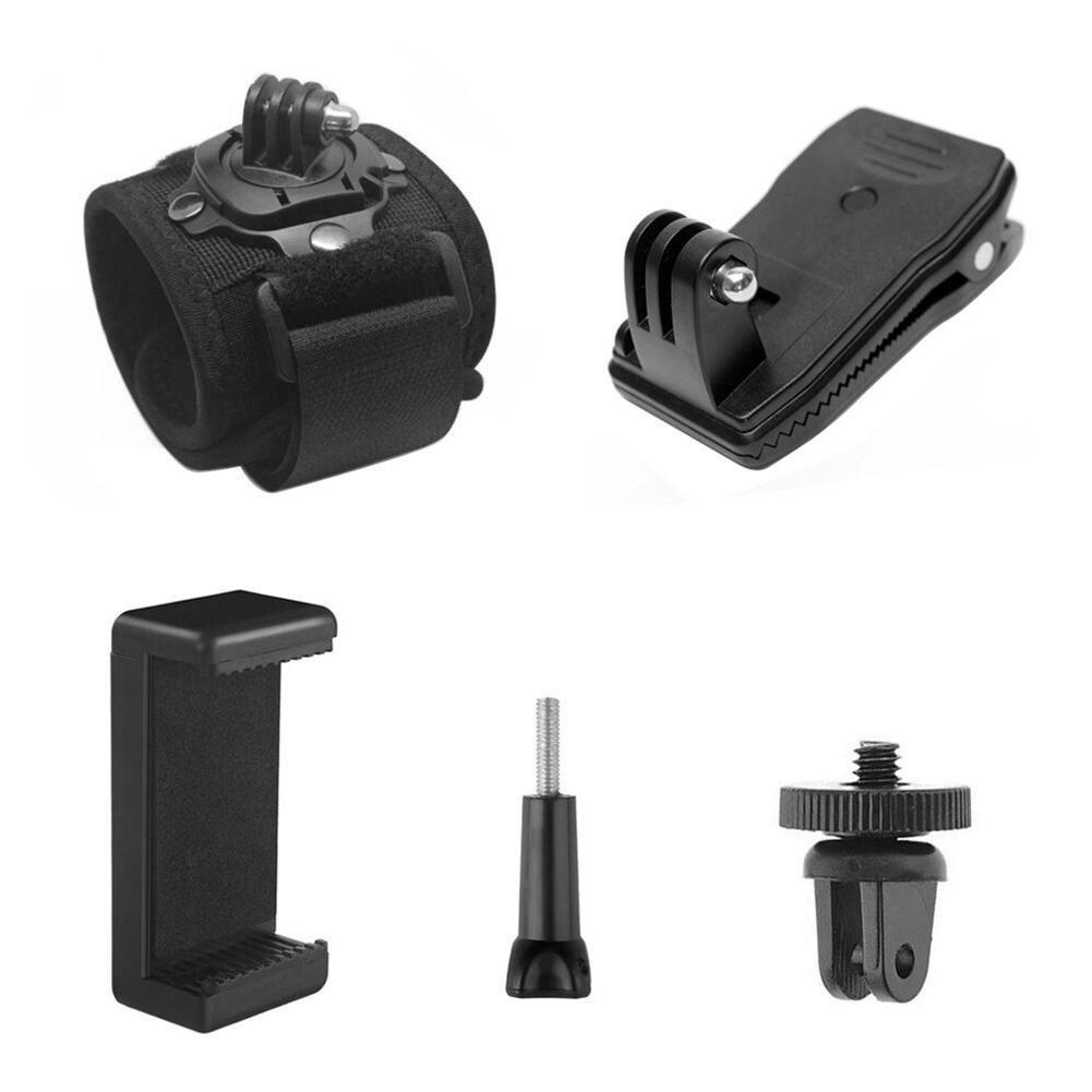 WinnerEco 5 in 1 Adjustable Wristband Strap Clip Clamp Adapter Screw for Gopro SJCAM