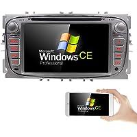 """Autoradio avec lecteur DVD et navigateur GPS pour Ford Focus/Mondeo/Galaxy/S-Max - Prise en charge de DAB+/Bluetooth/USB/SD/DVD/CD/commande au volant - Écran 17,78 cm (7"""") - Argenté"""