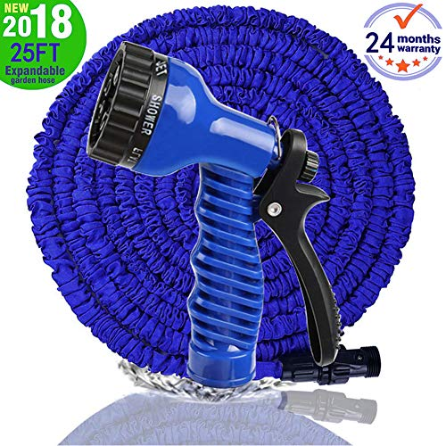 MTNZXZ Garden Hose, Newest 25 FT Expandable Heavy Double Latex Flexible Hose – 7-Pattern High Pressure Water Spray Nozzle. Suitable for Wash Cars, Clean Walls, Watering Lawns and Plants, etc.