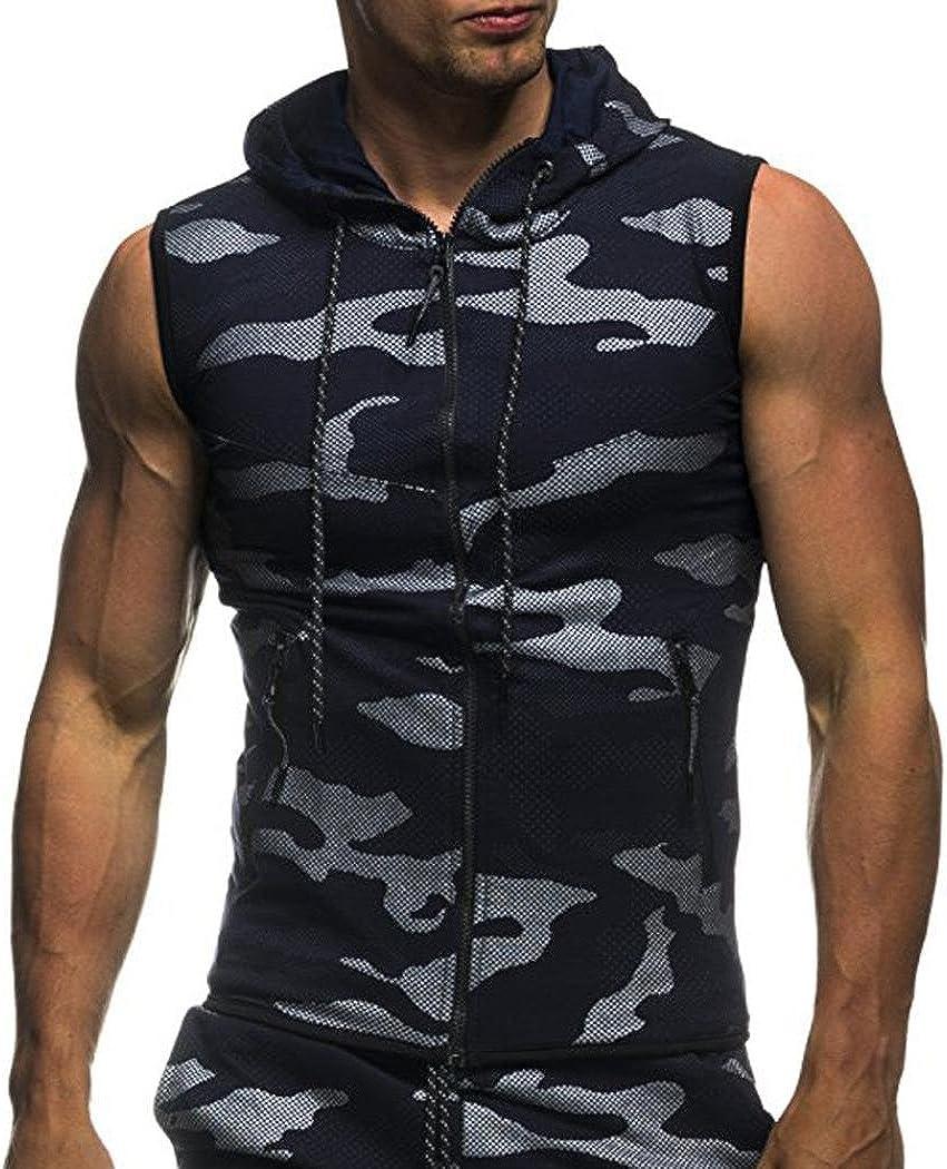 Longra pour des Hommes /Ét/é Camouflage imprim/é Encapuchonn/é Tee Shirt D/écontract/ée Sans Manches Zipper Tank Tops Homme Chemise Slim fit D/ébardeurs Sport Basique Haut Tops