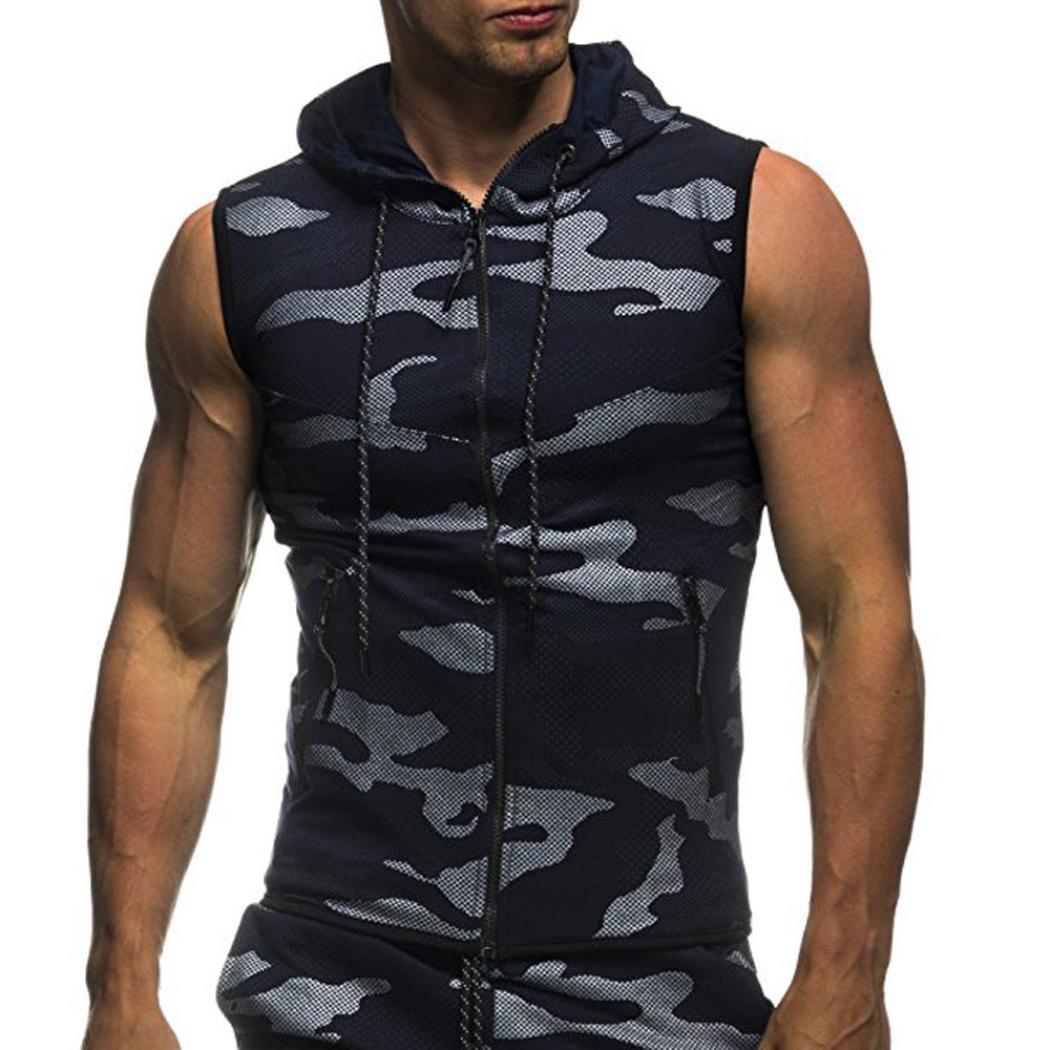 Longra pour des Hommes Été Camouflage imprimé Encapuchonné Tee Shirt Décontractée Sans Manches Zipper Tank Tops Homme Chemise Slim fit Débardeurs Sport Basique Haut Tops