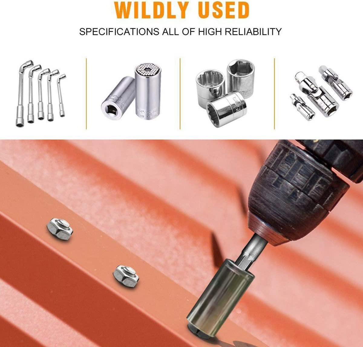 Socket Adapter 8 Piece Set 1//4 Hex Adapter to 1//4 3//8 1//2 Socket for Drill and Cordless Screwdriver Socket Nuts and Sockets Bit Holder