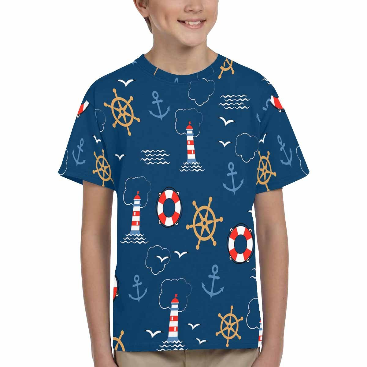 Seagulls INTERESTPRINT Kids T-Shirt Sea Anchors XS-XL Helms Lifebuoys