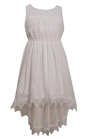 2394743a3ed Bonnie Jean Big Girls Plus-Size White Lace and Burnout Chiffon High Low  Dress,