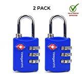 Limited Offer [Lifetime Warranty] Vesgantti TSA Approved Travel Combination Luggage Locks for Suitcases and Other Bags