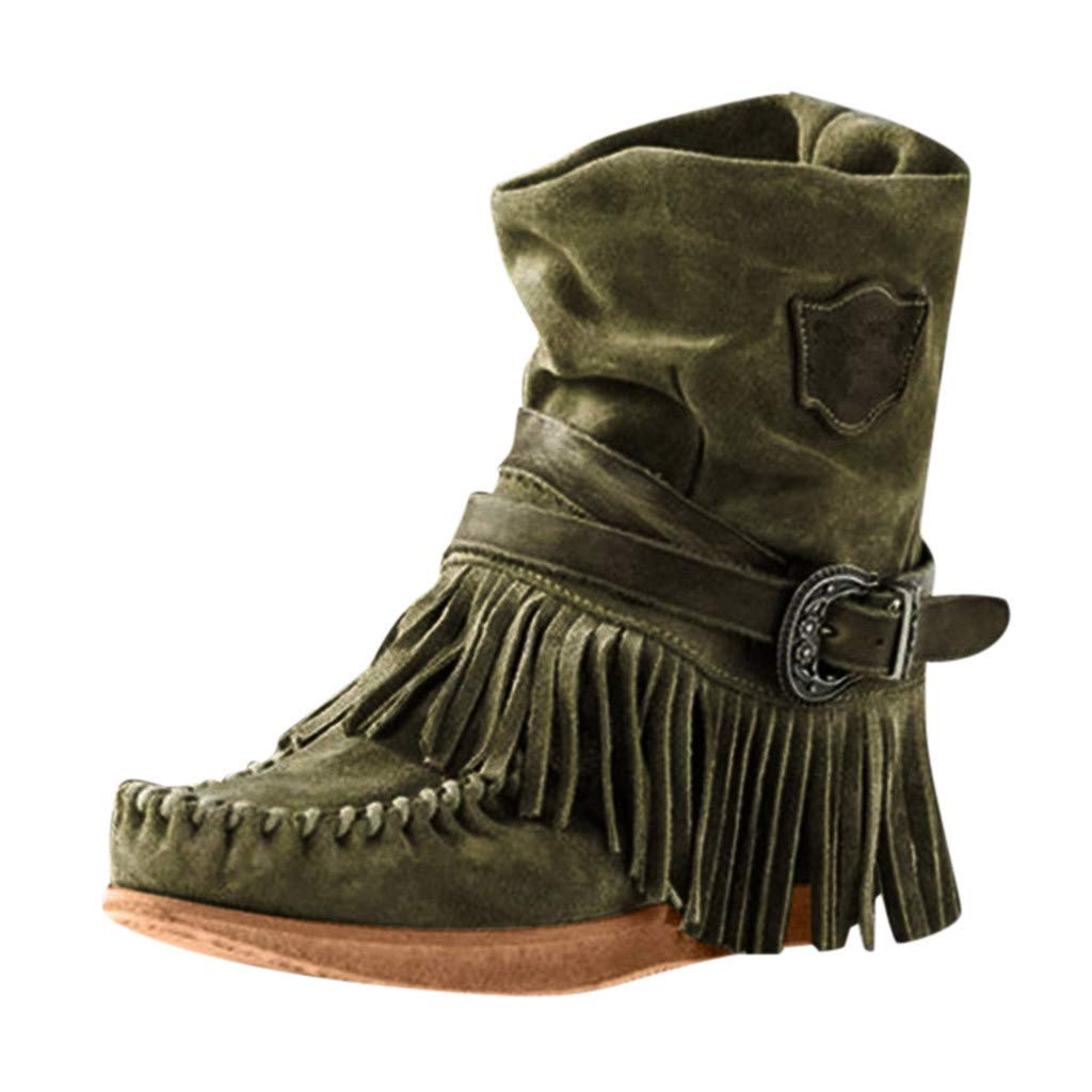 Yanvan Ankle Boots for Women Fashion Casual Round Toe Fringe Short Ankle Boots Flat Shoes by Yanvan
