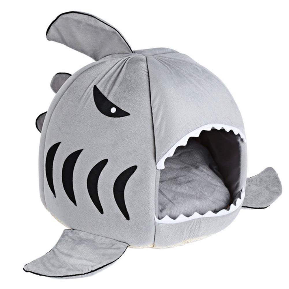 Grey M grey M BERTERI Cat Bed Soft Dog Bed Cartoon Shark Pet Bed Washable Sleeping Bed with Removable Cushion